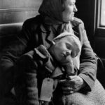 Alvine Upitis and son Alvis on a train in Germany en route to the boat that would bring them to America in June 1950.