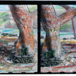 A hand colored diptych of Manini Beach in Napo'opo'o on Hawaii Island where Alvis Upitis last sat with his father Augusts.