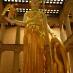 The main hall of the Parthenon is dominated by a fantastic 42 foot 10 inch high statue of the Goddess of wisdom - Athena.