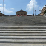 The view from the bottom of the Rocky Steps leading to The Philadelphia Museum of Art