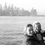 Alvine Upitis holds son Alvis on entry into New York Harbor on June 25, 1950.