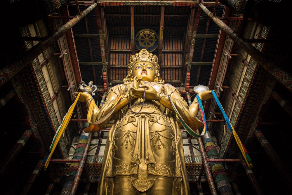 Janraysig Temple, Ulaan Bataar, 26m Buddha statue. 24 mm Summilux. f/1.4 @ISO 3200 © Nick Rains