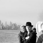 Augusts Upitis holds son Alvis coming into NY Harbor on June 25, 1950 after a nine day freighter crossing from Germany.