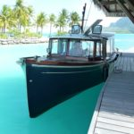 Arrival at The Four Seasons Resort Bora Bora by Andreyale taxi boat.