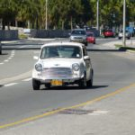 The country is a British Overseas Territory - here people drive on the left hand side of the road and this old Mini reminded me of England!