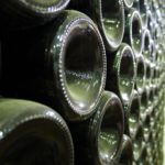 Thousands of bottles are stored in the cellars before distribution.