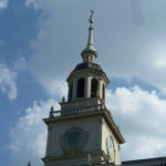 The bell tower at the top of Independence Hall