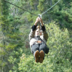 Ziplining in the forest near St. Felicien