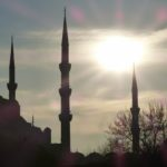 The sunset at the Blue (Sultanahmet) Mosque