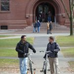 My favourite photograph of 2010...two students chatting while wheeling their bicycles through a quadrangle at Harvard University.