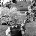 Alvis Upitis models for Augusts Upitis during apple blossom time in the fruit orchards of Elizaville, NY in the spring of 1951.