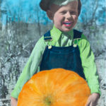 A photo of Alvis Upitis on the Empire Farm in Copake, NY in the fall of 1950 taken by father Augusts Upitis and hand colored by mother Alvine Upitis.
