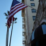 American Flag outside the Beverly Wilshire Hotel