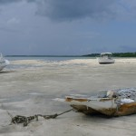 Abandoned boats resting on the beach.
