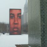 An electronic outdoor art installation in Millennium Park, next to the Art Institute of Chicago.