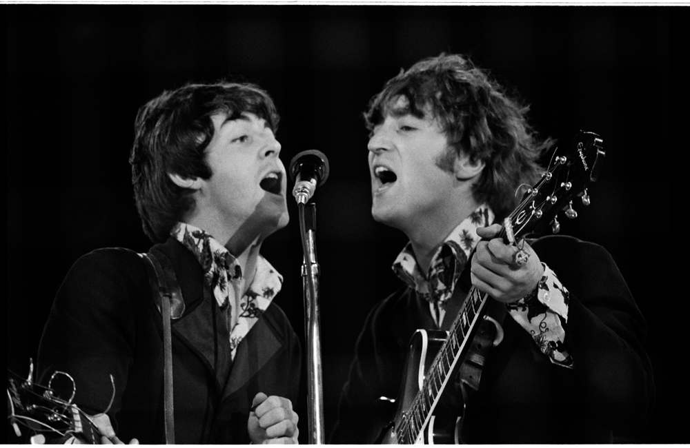 © Jim Marshall Photography LLC; Paul McCartney and John Lennon performing at the Beatles last concert at Candlestick Park in San Francisco California August 29 1966