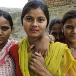 Four young girls in the village of Bagad-Rajput, India. Photo taken by Brigitte Lacombe.