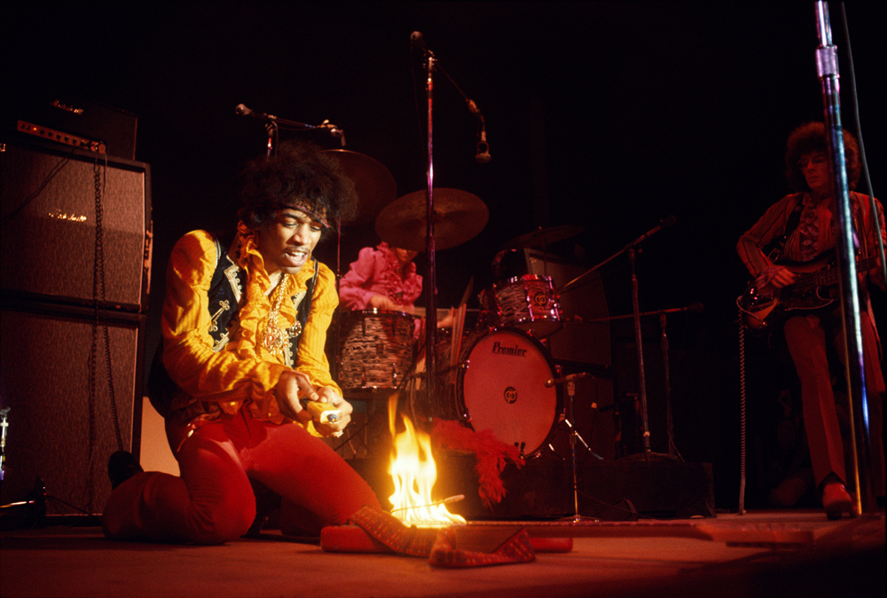 © Jim Marshall Photography LLC; Jimi Hendrix lighting his guitar on fire on stage at Monterey International Pop Festival Monterey California June 1967