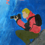 Grafitti of a Leica Explorer painted on a wall in Puerto Natales, Chile