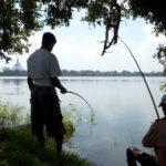 Fishermen with stupa, Anuradhapura, Sri Lanka.