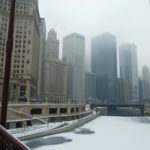 This part of the Chicago River is frozen over; on St Patrick's Day, the water is dyed green!