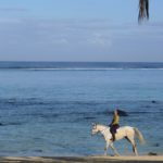 An early morning hack on the beach in front of the Shanti Maurice resort located at the south of the island.