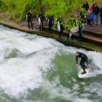 Surfing on the River Isar in the centre of Munich