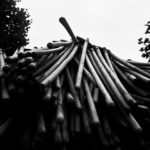 Potocari  –  The shovels for interring the mortal remains of the victims of the Srebrenica massacre during the anniversary ceremony. Taken by Andy Spyra