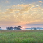 Sunrise and mist, Gettysburg battlefield by Tom Grill